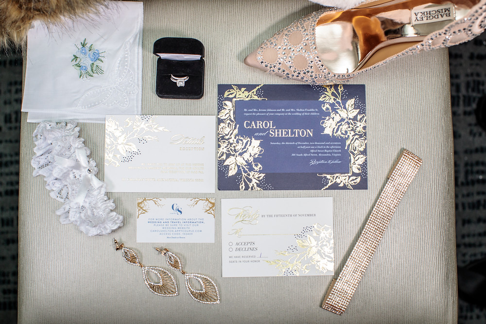 The bride's wedding accessories with the wedding stationery at the Westin Alexandria.