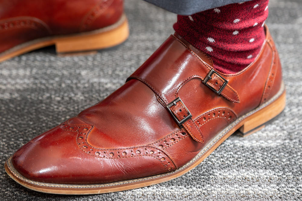 Groom's footwear and socks before the wedding ceremony at Martin's Crosswinds in Greenbelt, Maryland.