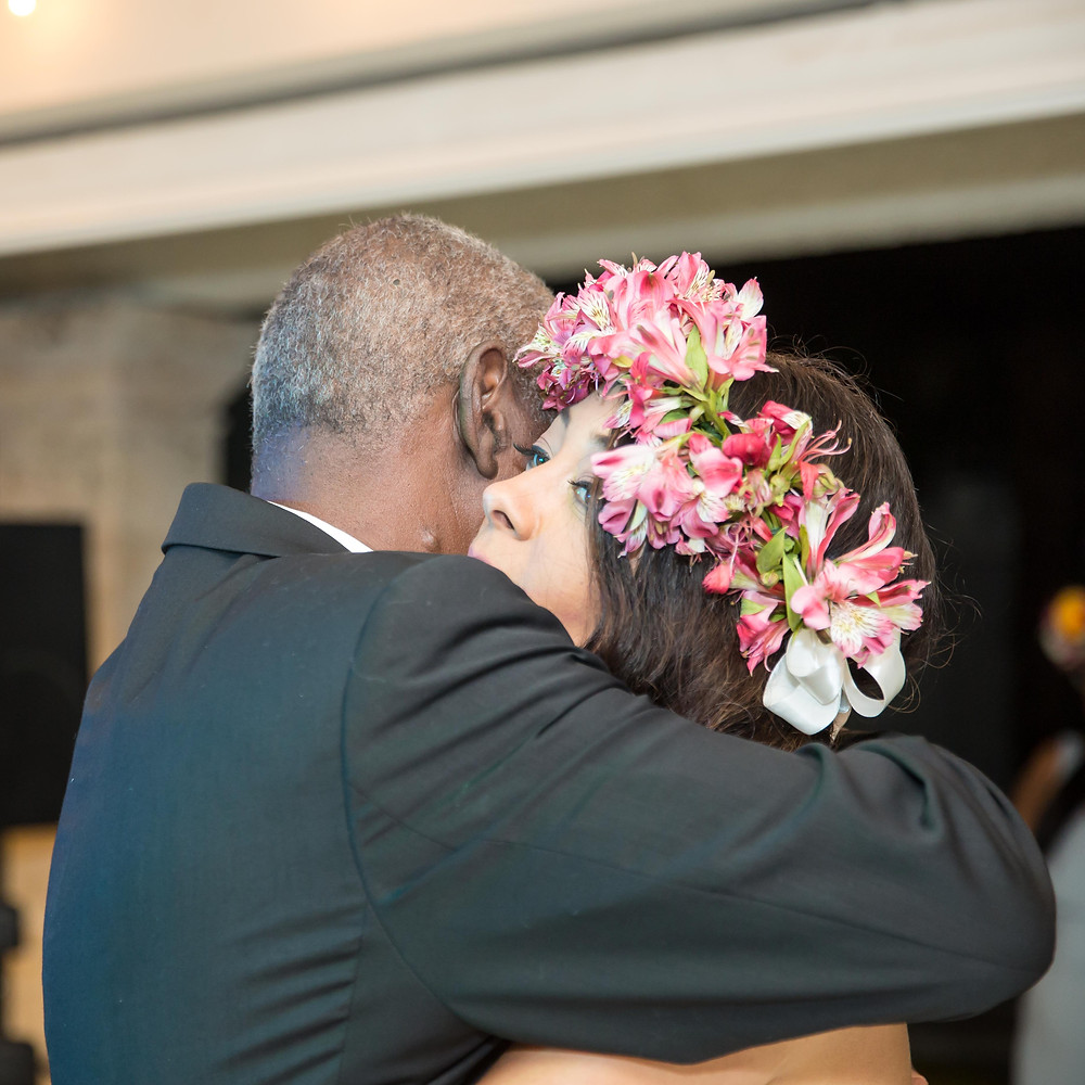 The bride and her father share their special dance at the destination wedding reception in Punta Cana, Dominican Republic.