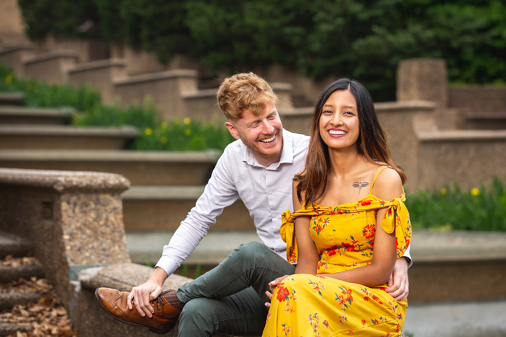 John and UK during the engagement session at Meridian Hill Park in Washington DC.