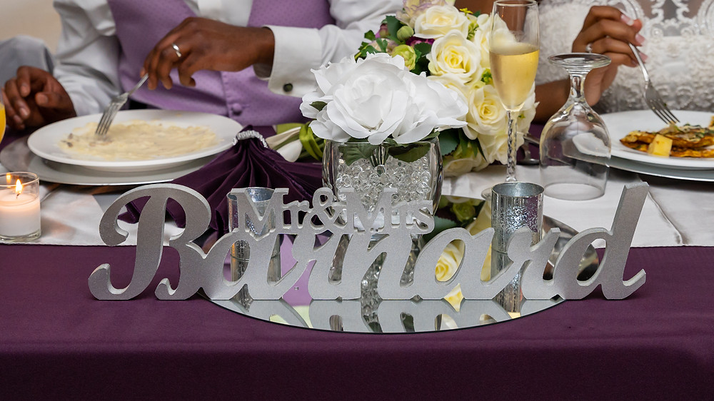 The centerpiece at the bride and groom's table during the wedding reception in Fairfax, Virginia.
