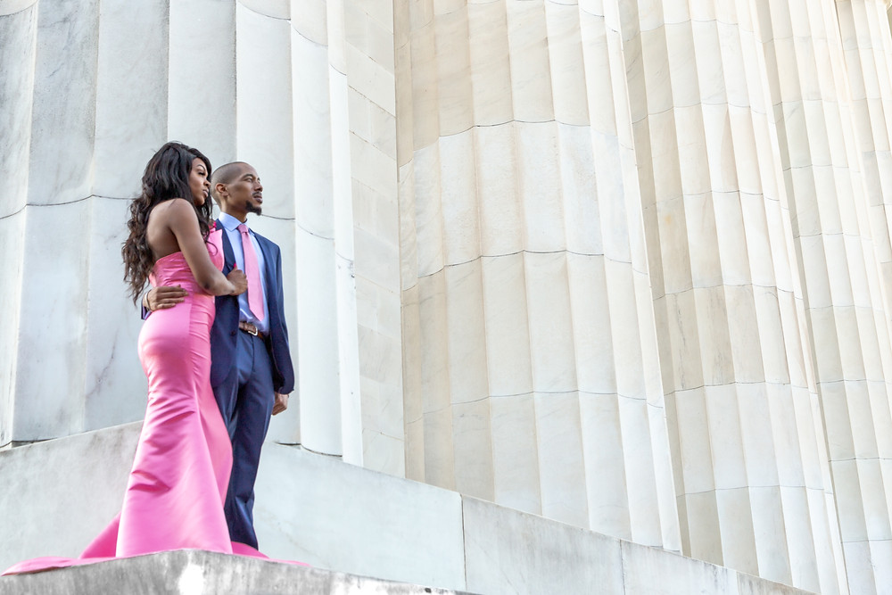Beyonka and E'an posing for a portrait during the engagement session at the Lincoln Memorial in Washington DC.