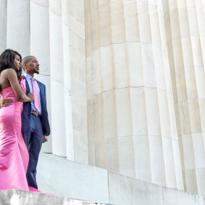 Beyonka & E'an's Classic, Timeless Engagement Session at the Lincoln Memorial in Washington DC