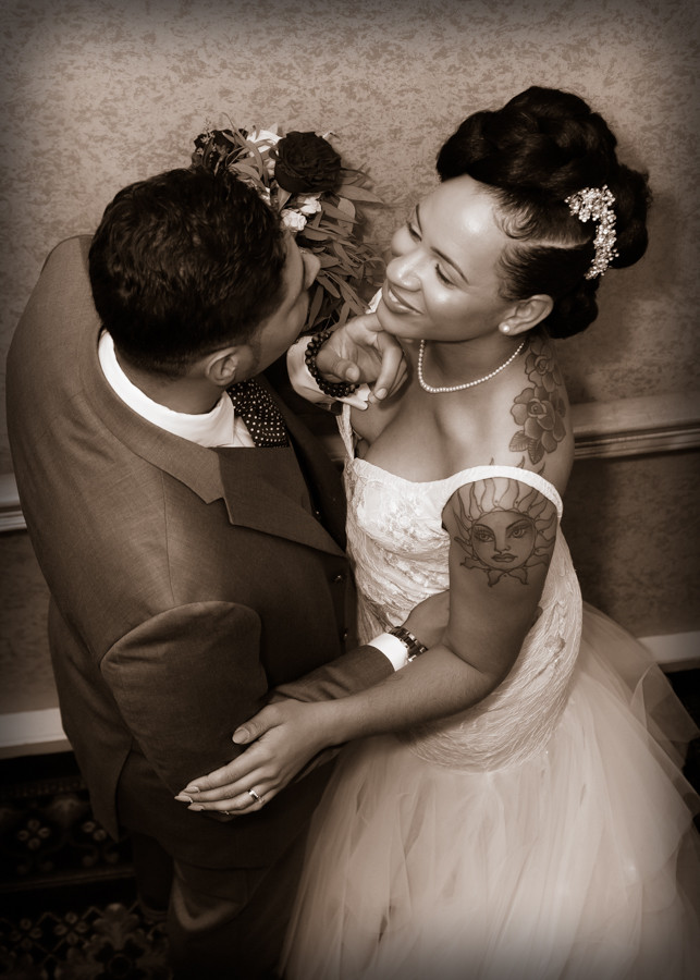 Nicole and Kenneth after their wedding ceremony at Martin's Crosswinds in Greenbelt, Maryland