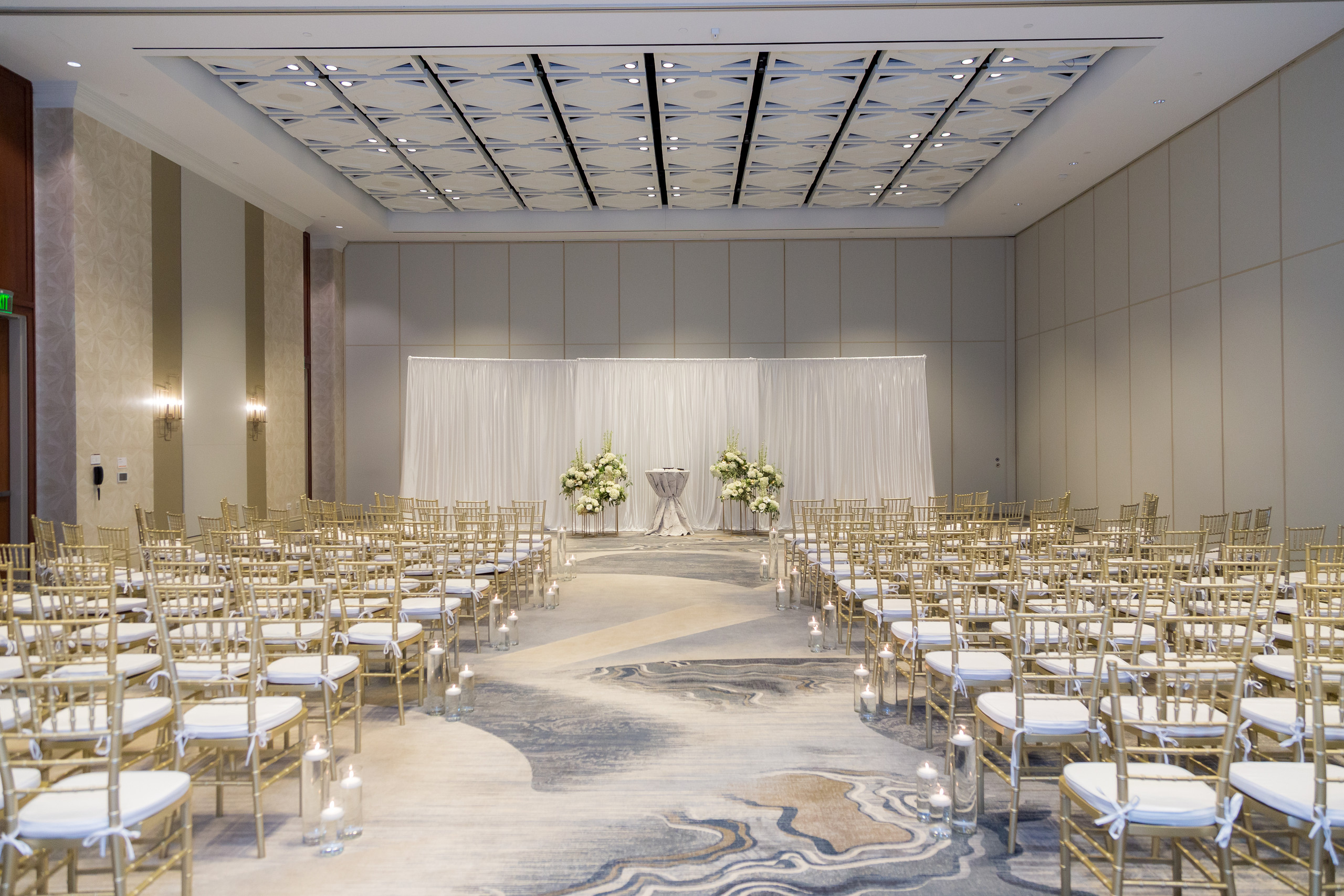 The elegant wedding setup for the wedding ceremony at the Hilton Main in Norfolk, Virginia.