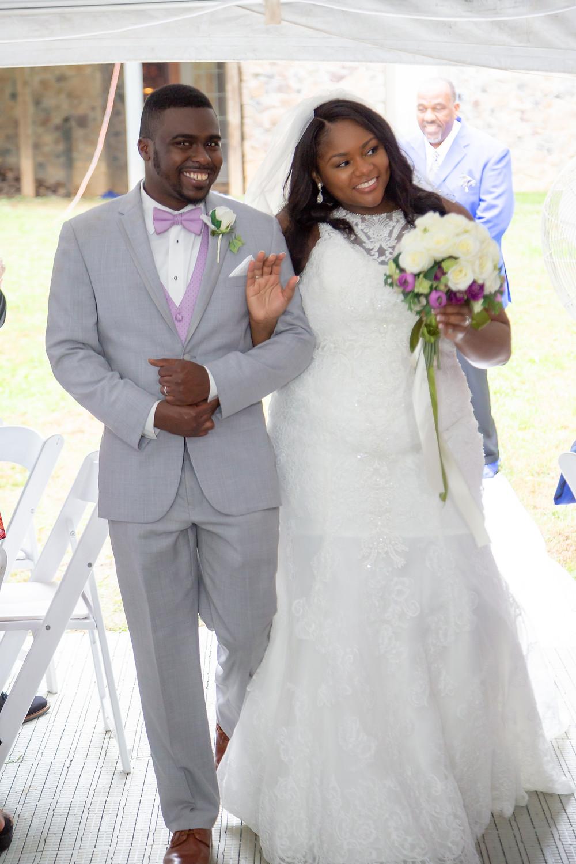 John and Jordyn entering their wedding reception in Fairfax, Virginia.