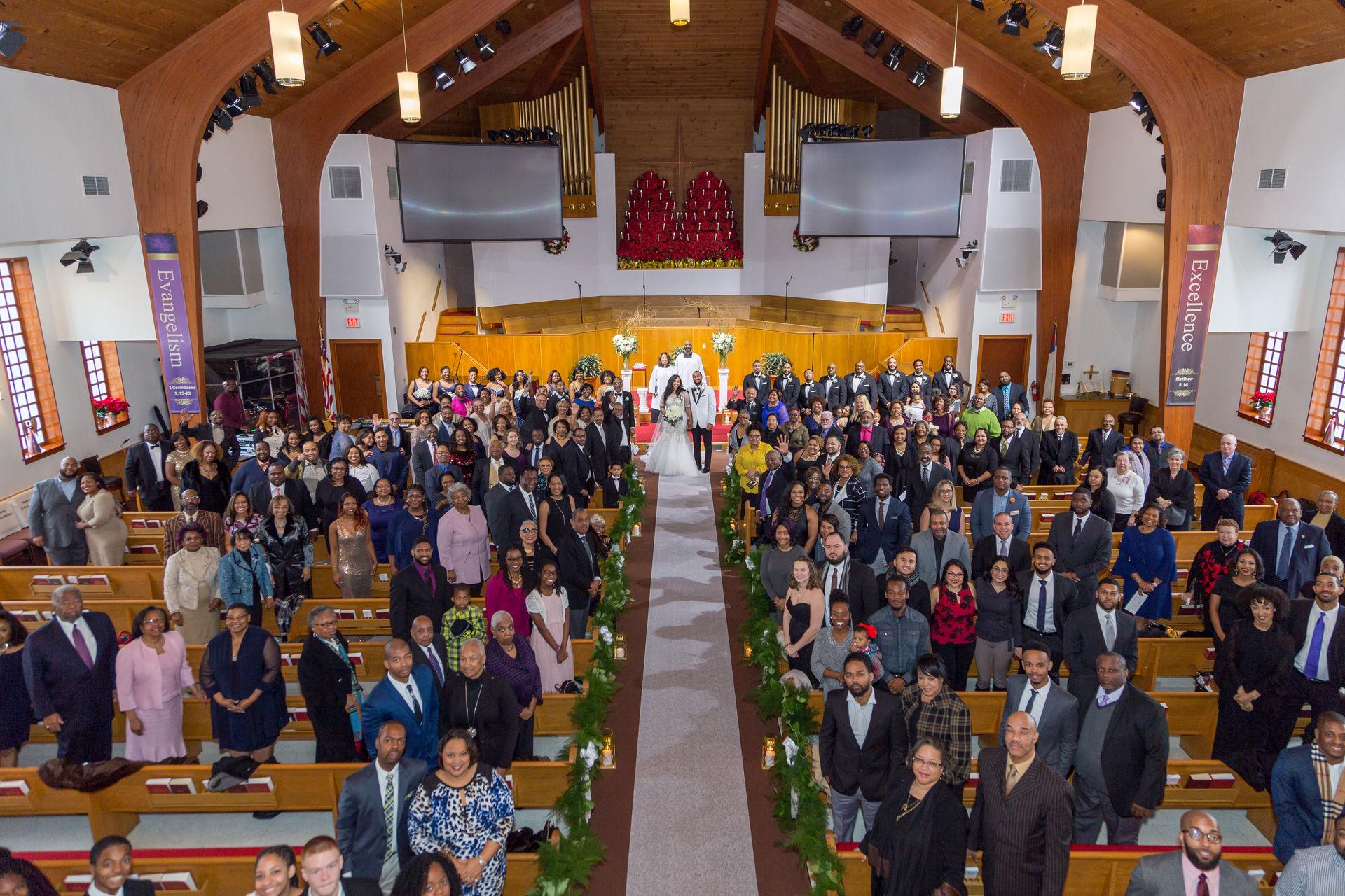 Group photo immediately following wedding ceremony