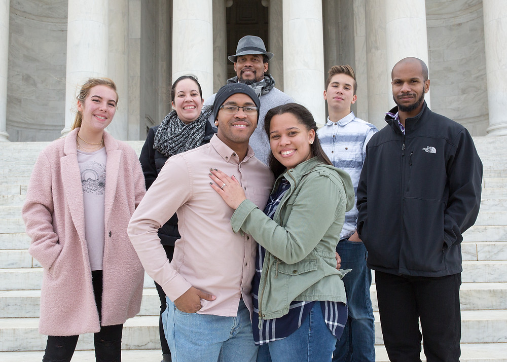 Dakota, Rodhem, and the family the day he proposed at the Jefferson Memorial in Washington DC.