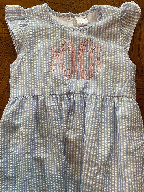 Monogrammed Seersucker Dress