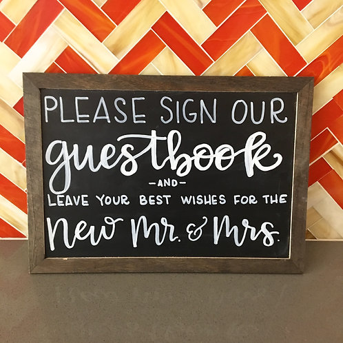 """Sign Our Guestbook"" Chalkboard Sign"