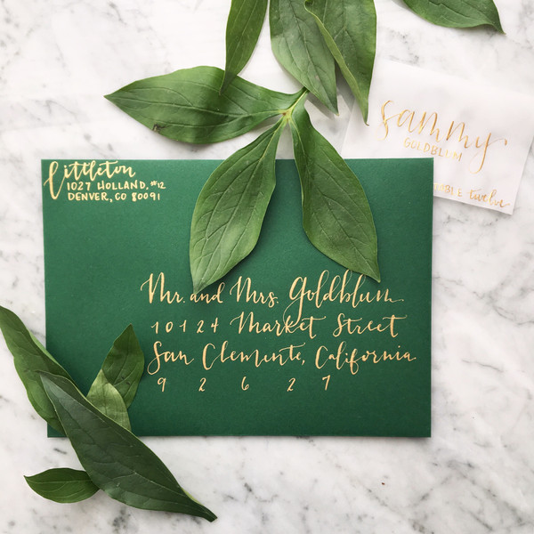 """Green + Gold """"Blaine"""" Style with Vellum Place Card"""
