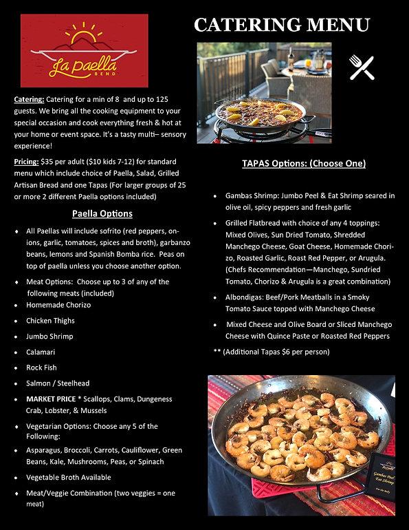 La Paella Bend Catering Menu 2021 Page 1