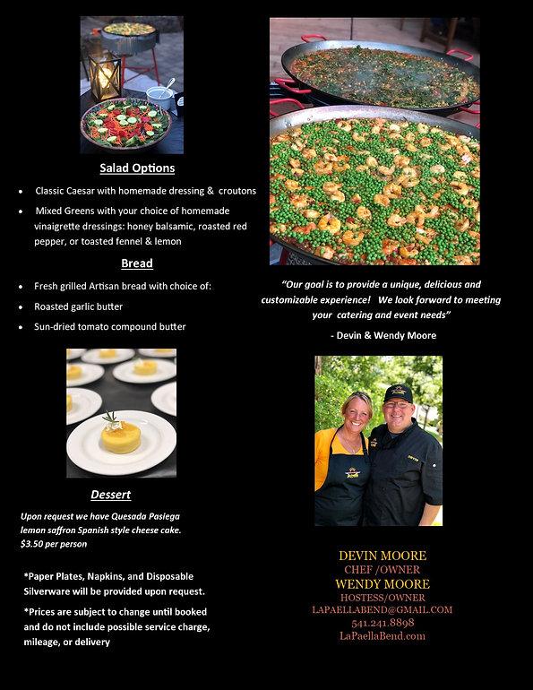 La Paella Bend Catering Menu 2021 Page 2