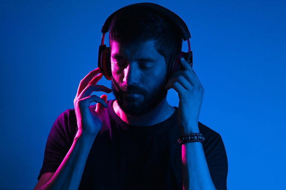 Copy of Neon light portrait of bearded m