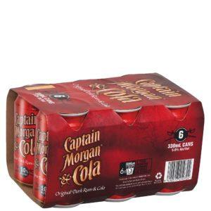 CAPTAIN MORGAN COLA 6X330ML CANS