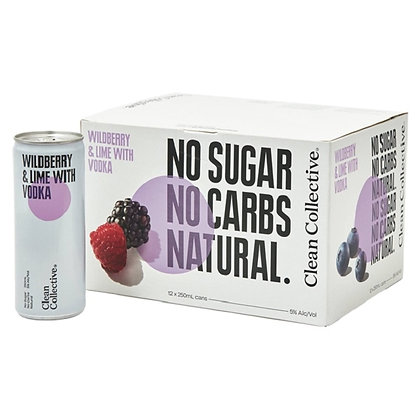 Clean Collective Wildberry & Lime vodka 12x250Ml Cans