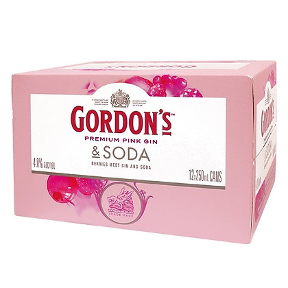 GORDON'S PINK GIN & SODA 12PK CANS 250ML