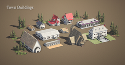 Town buildings Real Time Asset