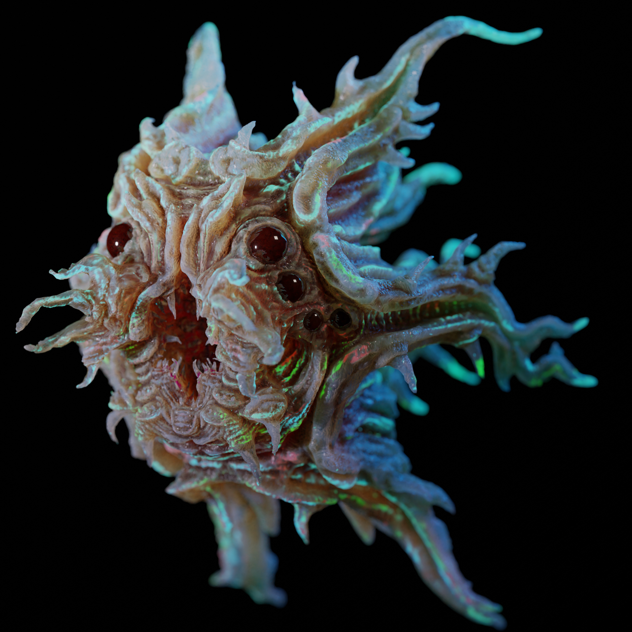 Alien monster sculpted and textured