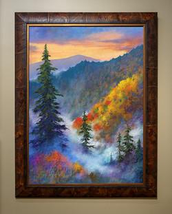 30x40 Autumn Descends Rustic Brown Burl Frame