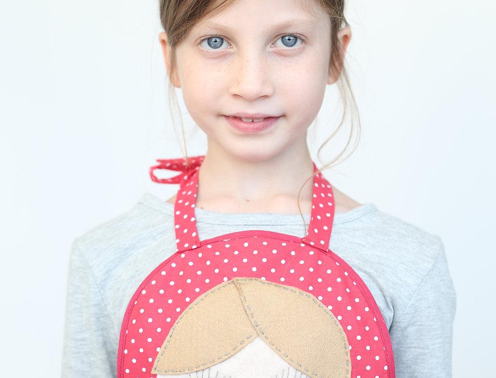 סינר בבושקה/מטריושקה ילדות - סינר אדום עם נקודות לבנות ומלא צבע