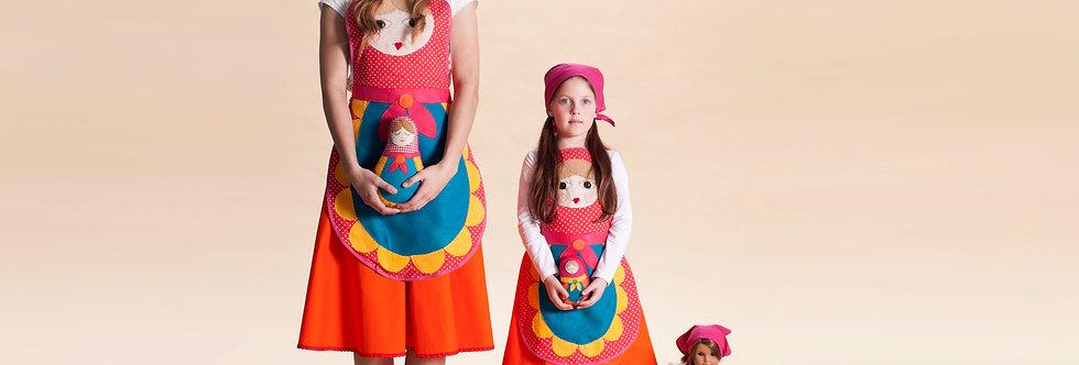 תחפושת בבושקה/מטריושקה ילדות ואימהות - סינר אדום נקודות (סט תואם רק הגודל שונה)