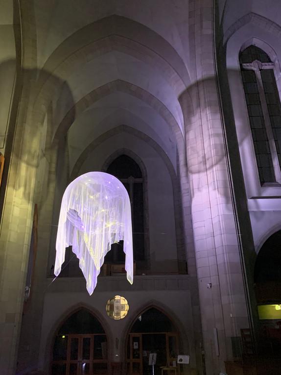 Awakenings IV, 2020 installation custom pvc sphere, helium, organza mesh, light, Holy Trinity Cathedral Parnell, Artweek Auckland 2020
