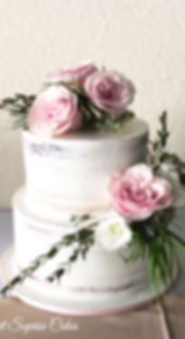 Naked Rose Wedding Cake