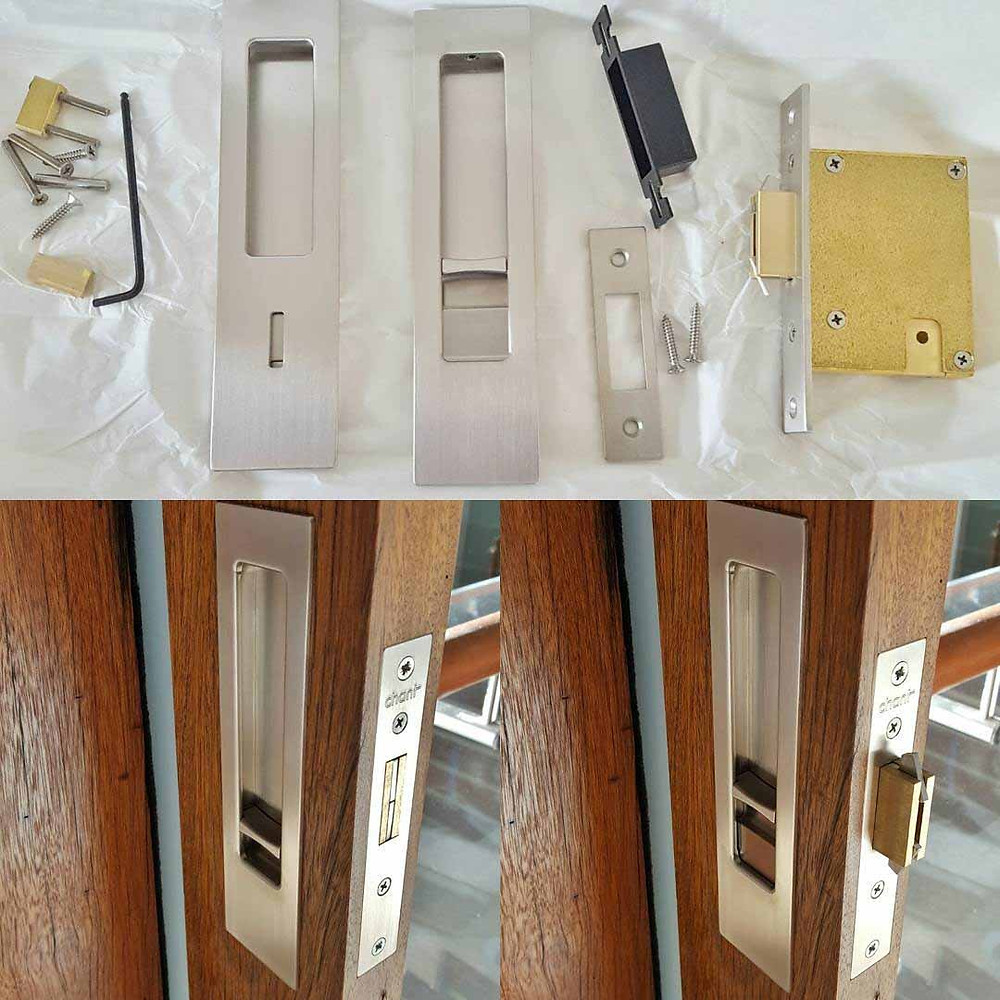 Chant VS privacy locking flush pull set. Installed by The Tidy Tradie - Lock Carpenter in Sydney.