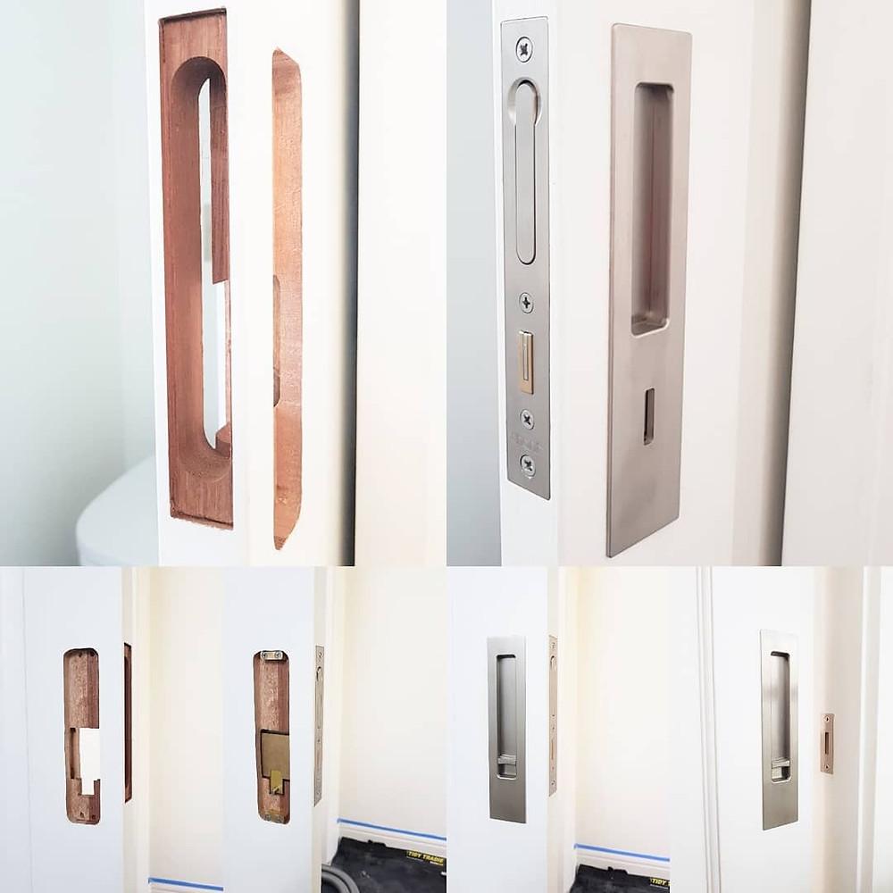 Chant VS privacy locking flush pull set with edge pull.