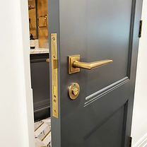 Luxury antique brass door handle and lock.