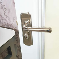 Luxury polished nickle door handle with privacy lock.