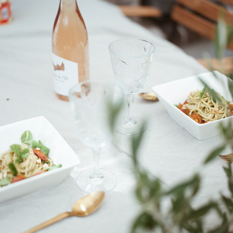 A Pasta Pesto lunch with rose in our garden.