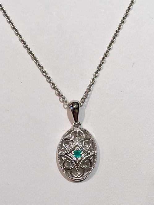 Filigree, pendant, Emerald, sterling silver