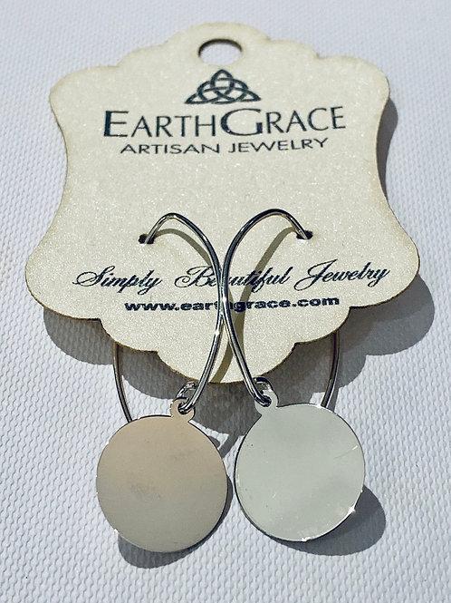 Sterling Silver Engravable Disc Earrings