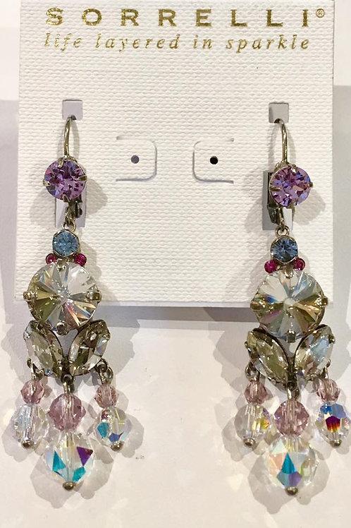 Lever back, earrings, aurora borealis, clear, sorrelli, pink, light purple