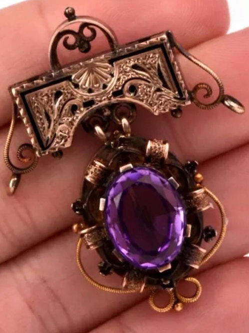 Estate Jewelry, Vintage, Antique, 5 ct, carot, Amethyst, 14K, Gold, Drop, Dangle, Pin