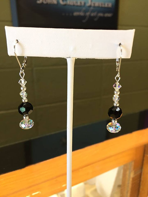 Earrings, sterling silver, lever-back