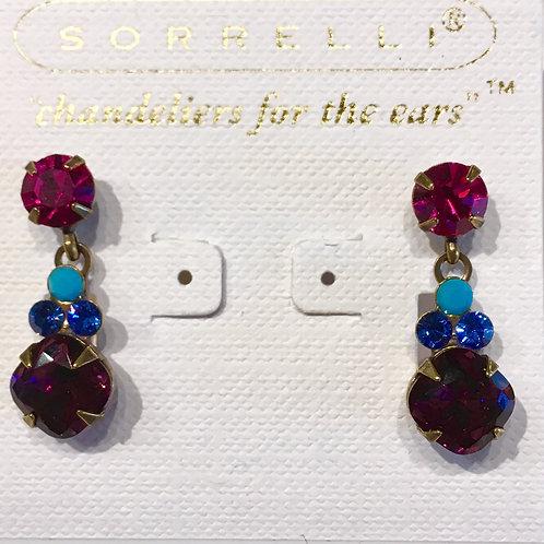 Sorrelli, Southwest Brights, earrings, fuscia, blue, teal, aurora borealis
