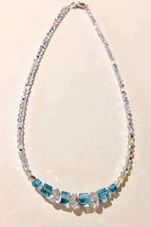 "Artisan Collection, 17"", aquamarine,  Swarovski Crystals"