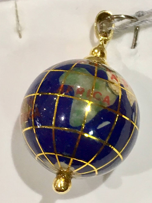 Estate Jewelry, 14k gold, Globe, charm, Genuine, Lapis, Gemstones