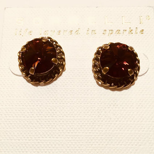 sorrelli, earrings, stud, amber, antique gold