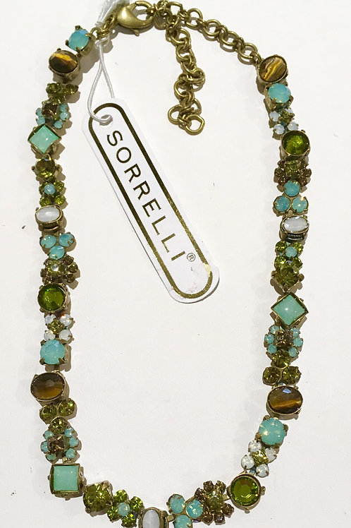 Sorrelli, necklace, retired, P Collection, peridot, brown tiger eye, opal, turquoise, faceted cat's eye