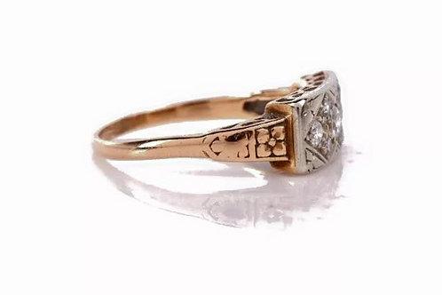 Vintage, 14K, estate jewelry, diamond band, ring, circa 1920's, yellow, white, gold
