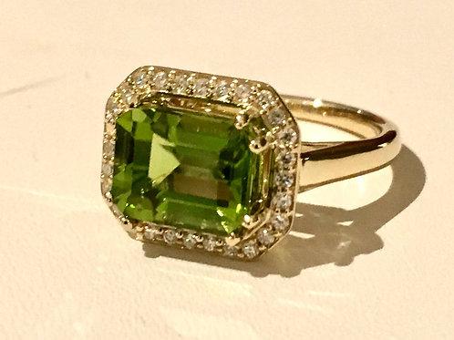 peridot, diamond, ring, emerald cut, custom