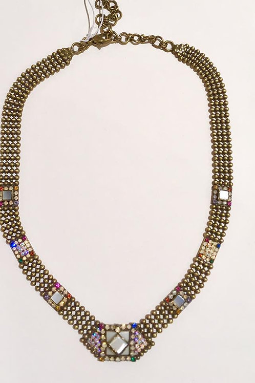 Sorrelli, B Collection, necklace, choker, Mother of Pearl, Aurora Borealis, green, blue, Amber, red, opal