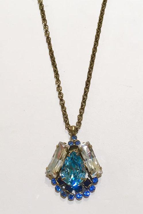 sorrelli, necklace, pendant, antique gold, bright collection, london blue topaz
