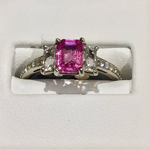 ring, pink sapphire, white sapphire, diamonds
