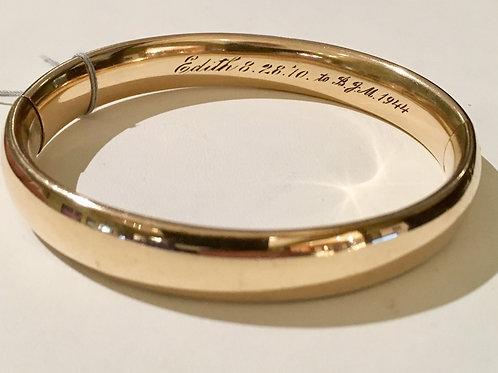 Estate, bangle, gold filled, engraved