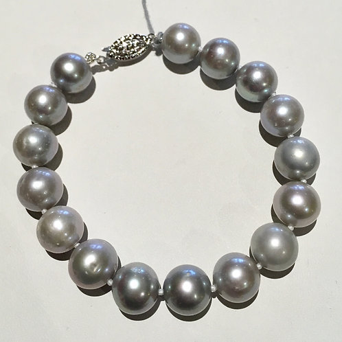 Fine Jewelry, 10 mm, 7 inch, Silver, Gray, Grey, Freshwater Pearl, Bracelet, Sterling Silver, Filigree Clasp